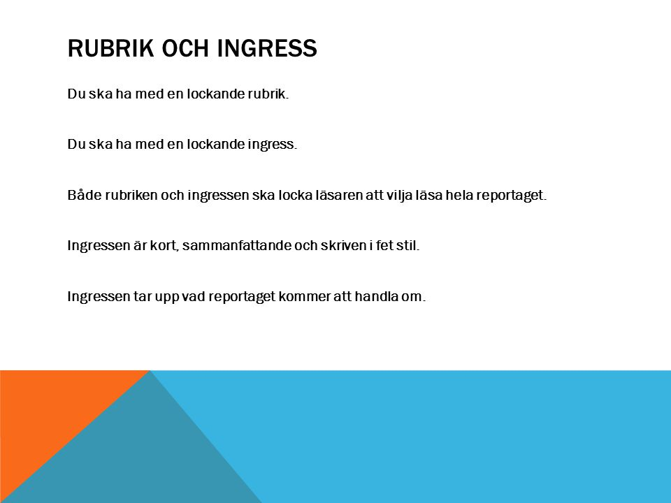 Rubrik och ingress