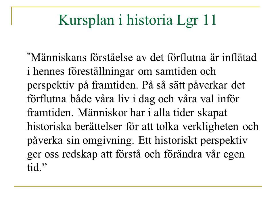 Kursplan i historia Lgr 11