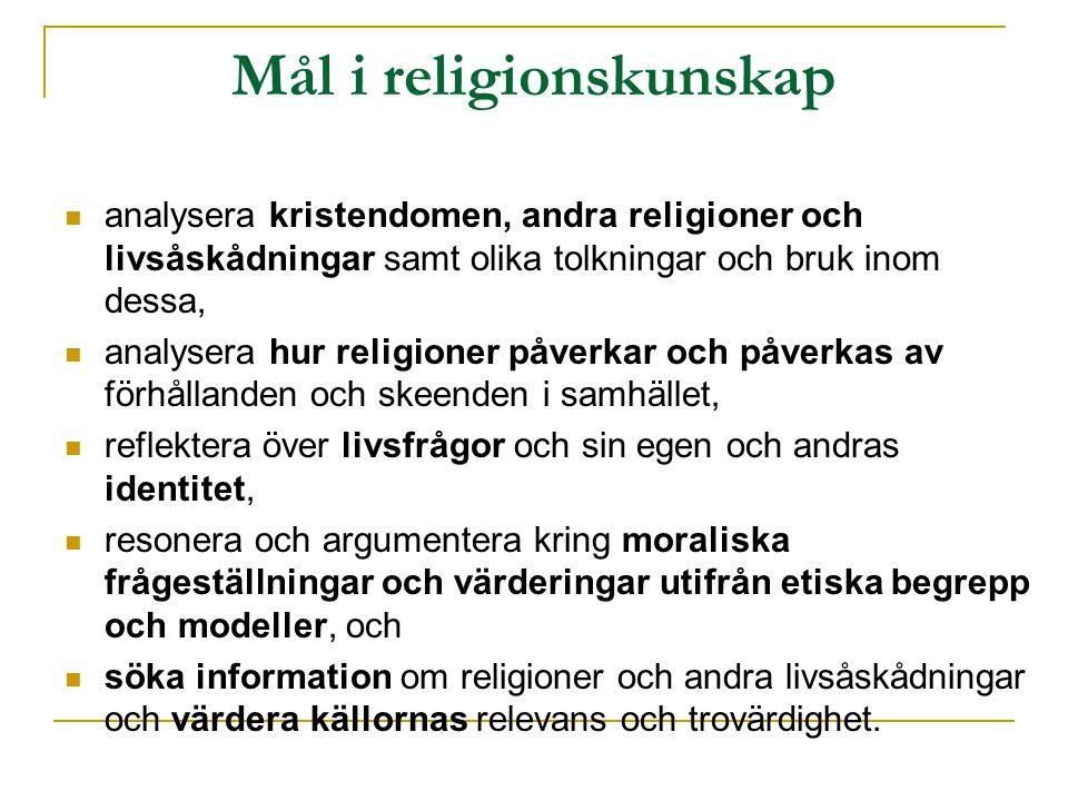 Mål i religionskunskap