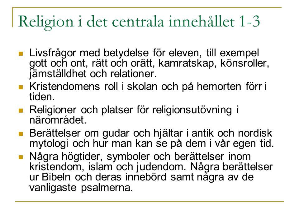 Religion i det centrala innehållet 1-3