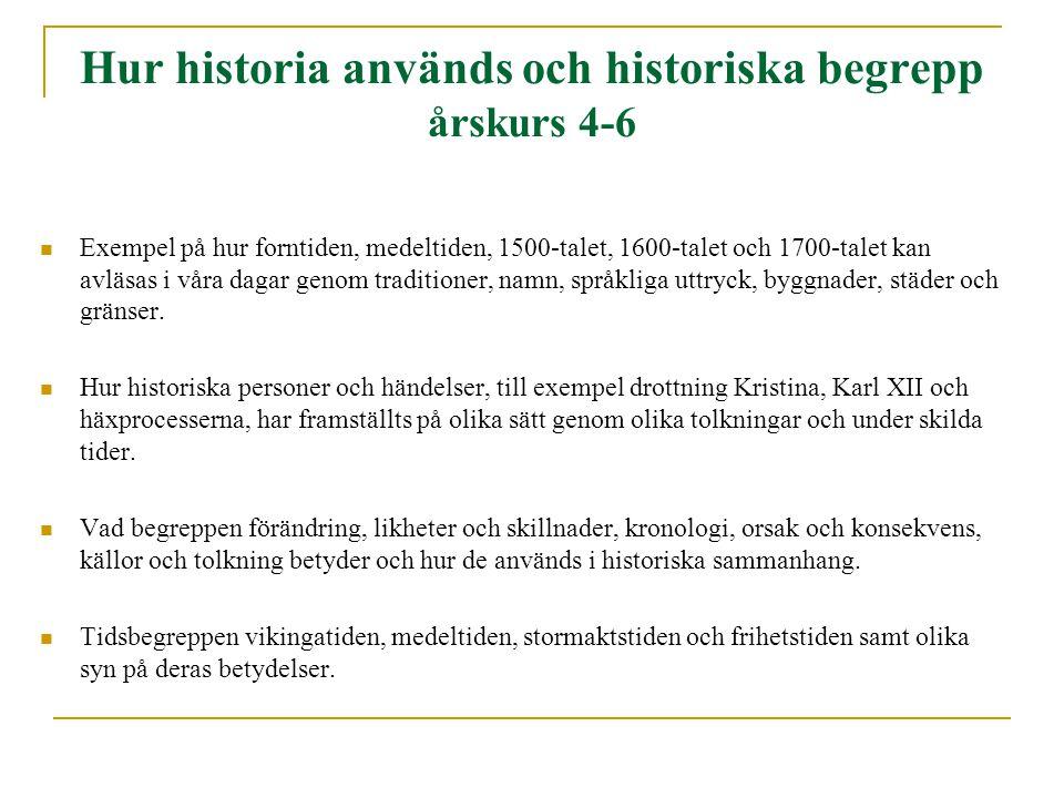 Hur historia används och historiska begrepp årskurs 4-6