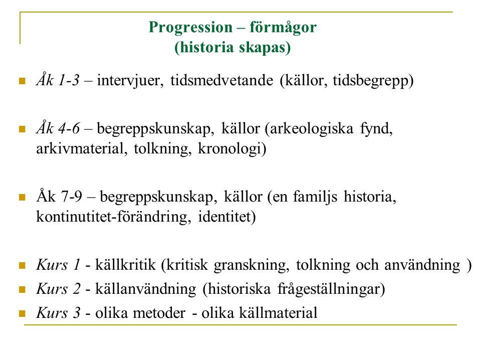 Progression – förmågor (historia skapas)