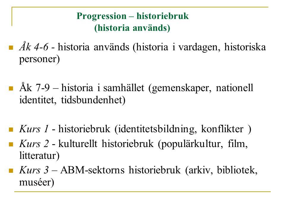 Progression – historiebruk (historia används)