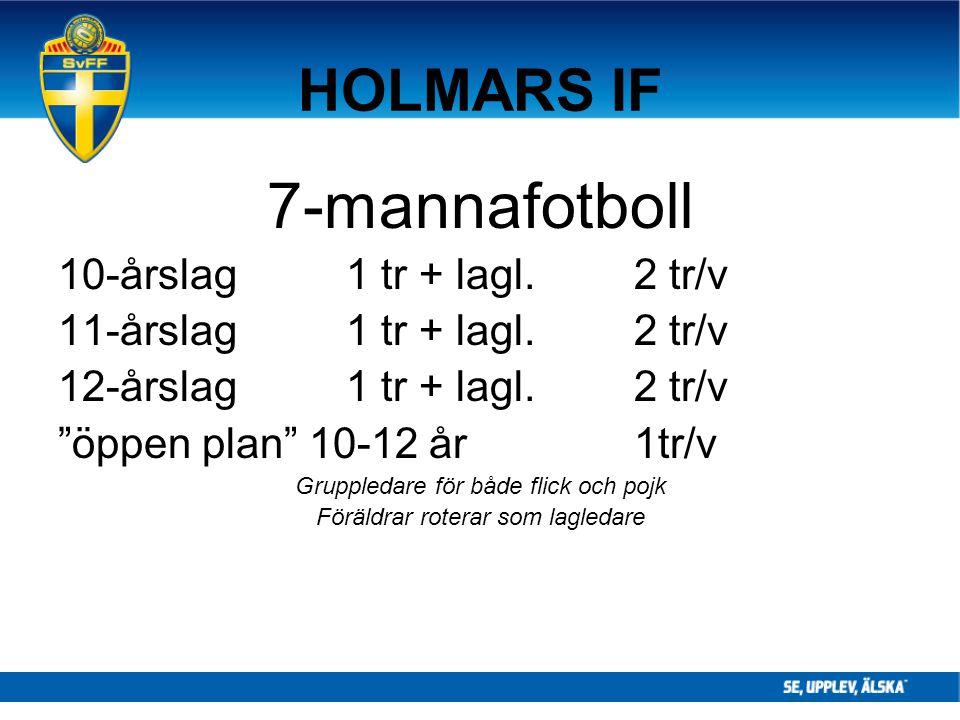7-mannafotboll HOLMARS IF 10-årslag 1 tr + lagl. 2 tr/v