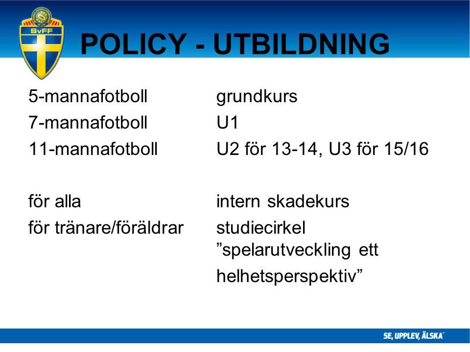 POLICY - UTBILDNING 5-mannafotboll grundkurs 7-mannafotboll U1