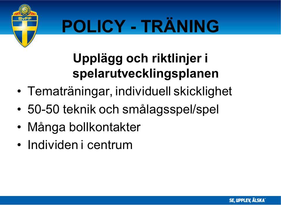 Upplägg och riktlinjer i spelarutvecklingsplanen