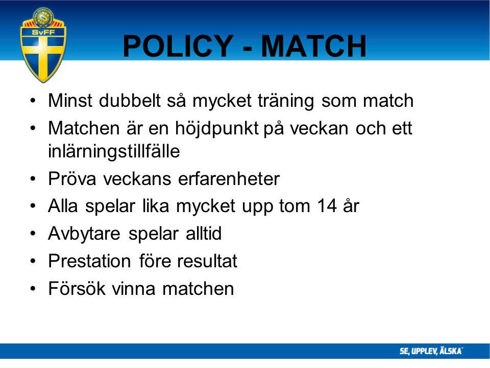 POLICY - MATCH Minst dubbelt så mycket träning som match