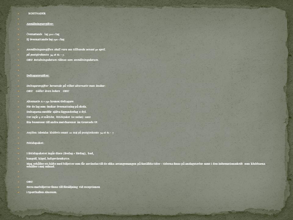 KOSTNADER Anmälningsavgifter: Övernattande lag 500:-/lag. EJ övernattande lag 750:-/lag.