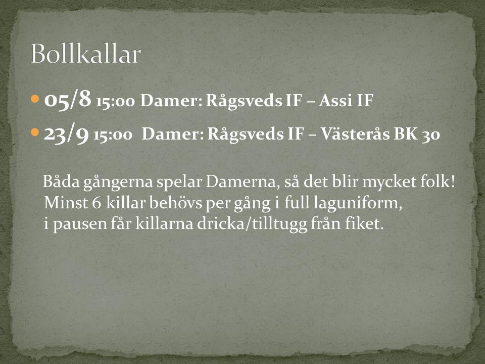 Bollkallar 05/8 15:00 Damer: Rågsveds IF – Assi IF