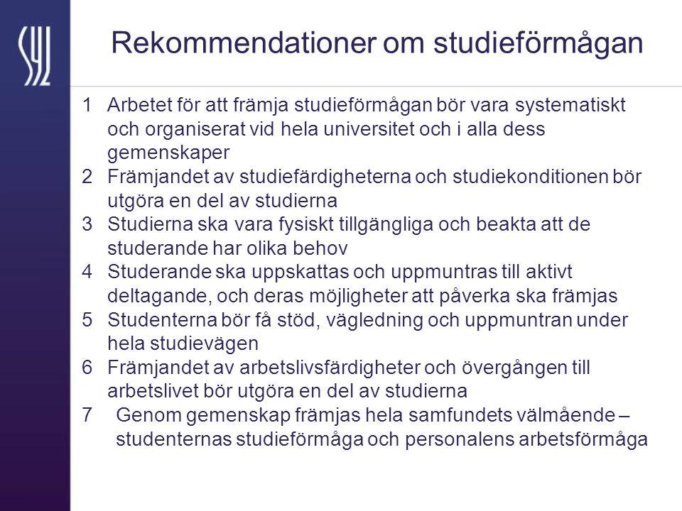 Rekommendationer om studieförmågan