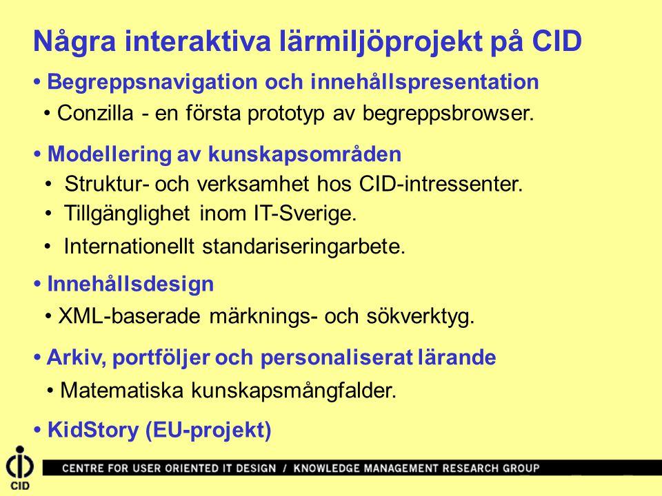 Några interaktiva lärmiljöprojekt på CID