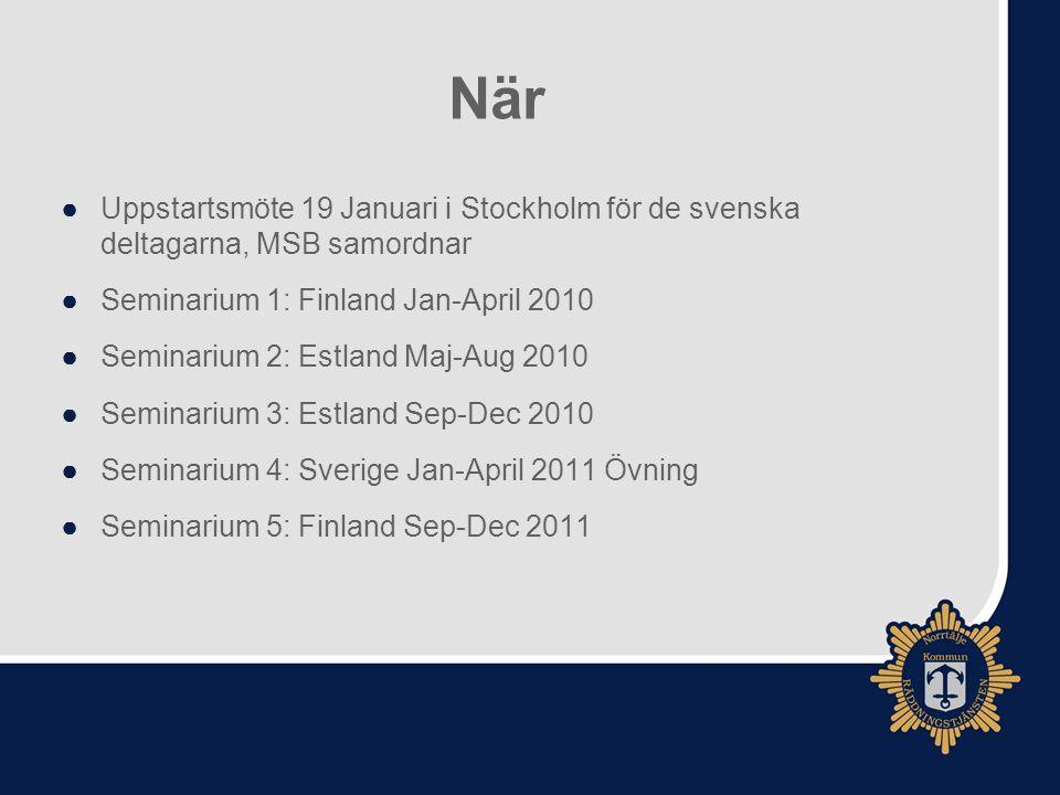 När Uppstartsmöte 19 Januari i Stockholm för de svenska deltagarna, MSB samordnar. Seminarium 1: Finland Jan-April 2010.