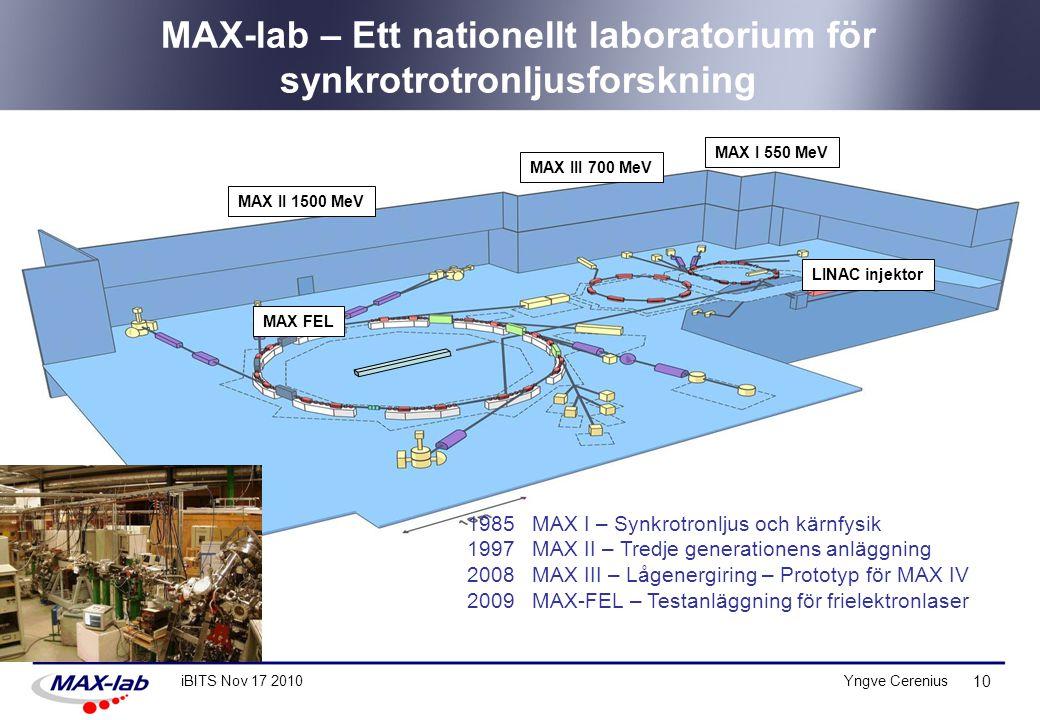 MAX-lab – Ett nationellt laboratorium för synkrotrotronljusforskning