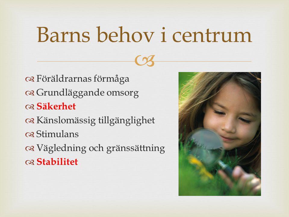 Barns behov i centrum Föräldrarnas förmåga Grundläggande omsorg