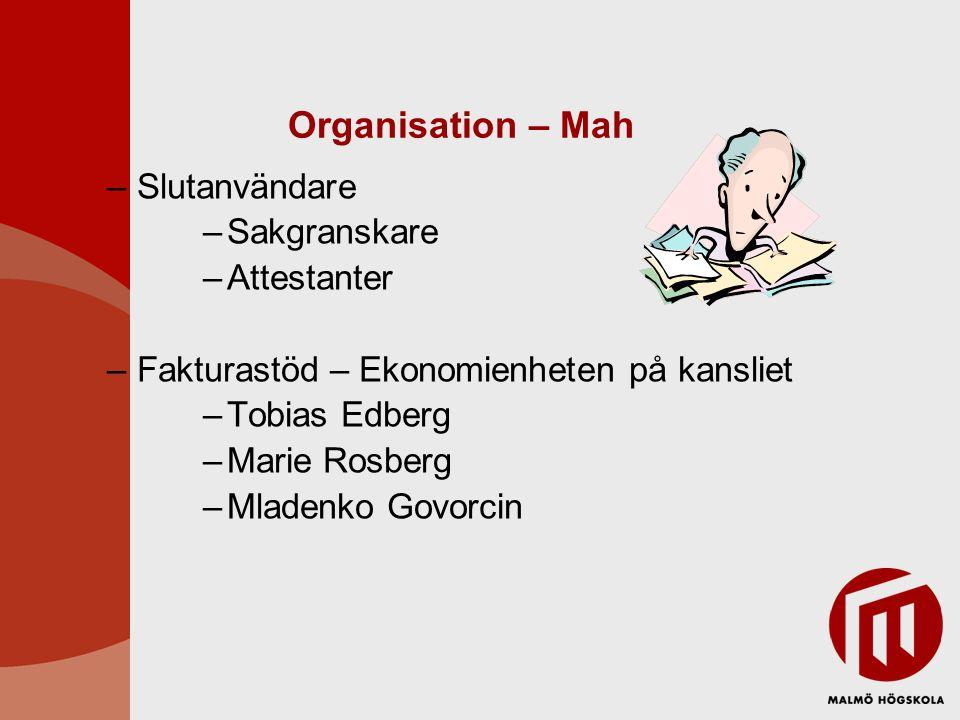 Organisation – Mah Slutanvändare Sakgranskare Attestanter