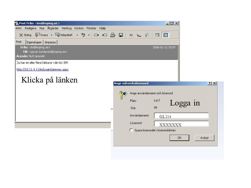 Klicka på länken Logga in GL114 XXXXXXX