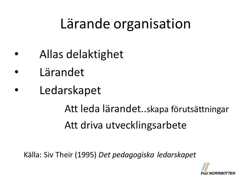 Lärande organisation Allas delaktighet Lärandet Ledarskapet
