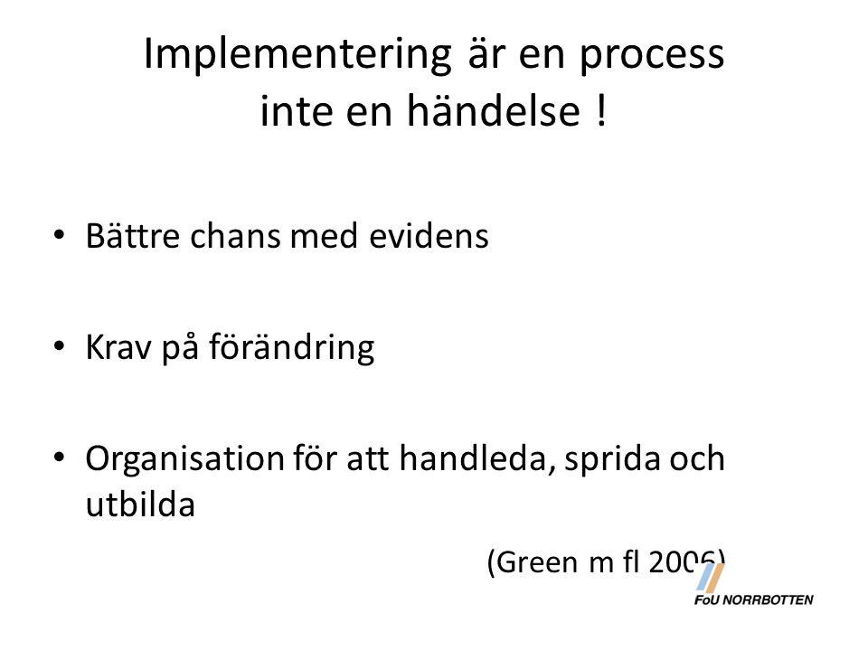 Implementering är en process inte en händelse !