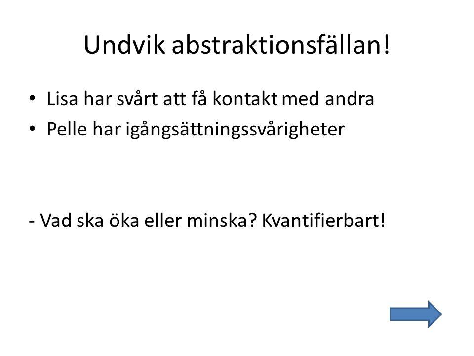 Undvik abstraktionsfällan!