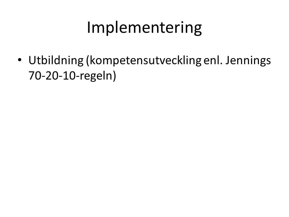 Implementering Utbildning (kompetensutveckling enl. Jennings 70-20-10-regeln)