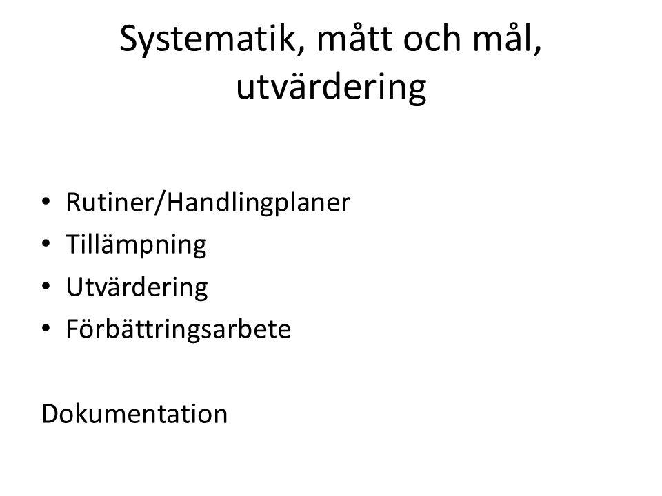 Systematik, mått och mål, utvärdering