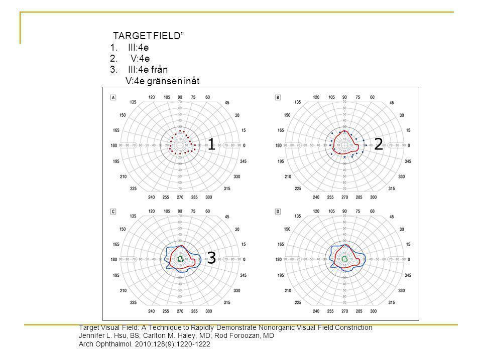 1 2 3 TARGET FIELD III:4e V:4e III:4e från V:4e gränsen inåt