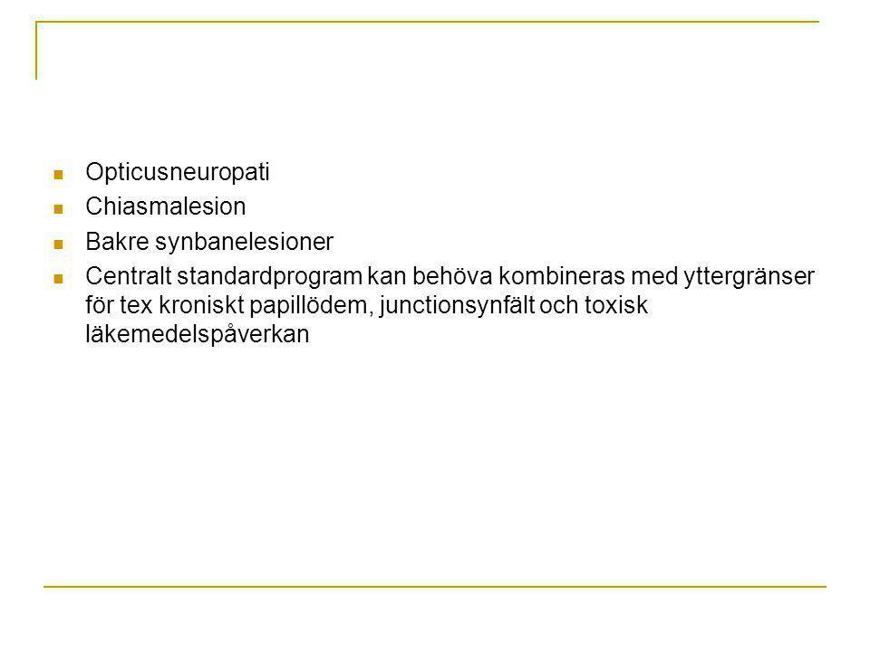 Opticusneuropati Chiasmalesion. Bakre synbanelesioner.