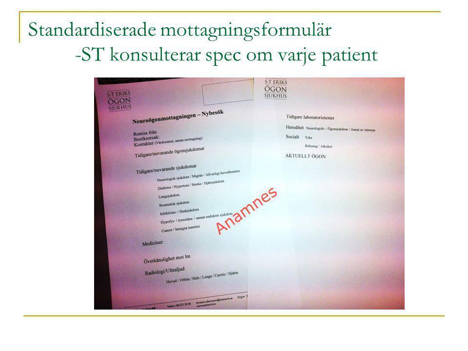 Standardiserade mottagningsformulär
