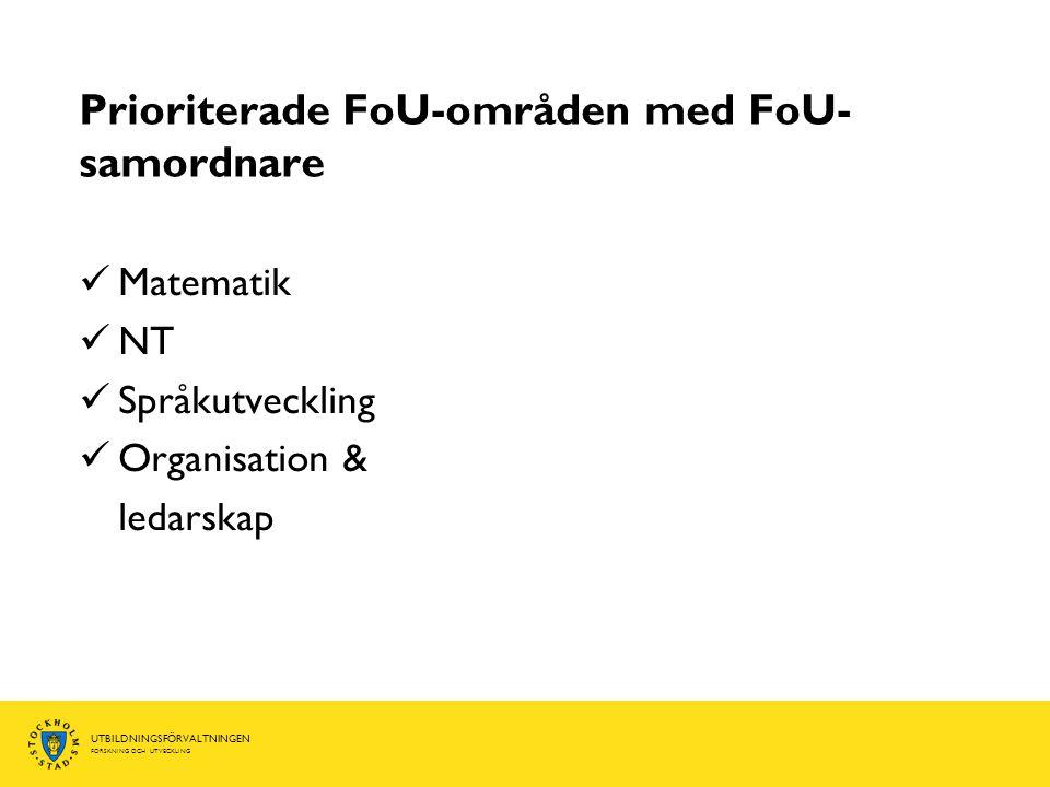 Prioriterade FoU-områden med FoU-samordnare