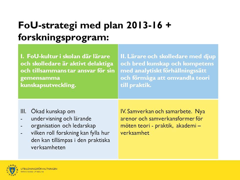 FoU-strategi med plan 2013-16 + forskningsprogram: