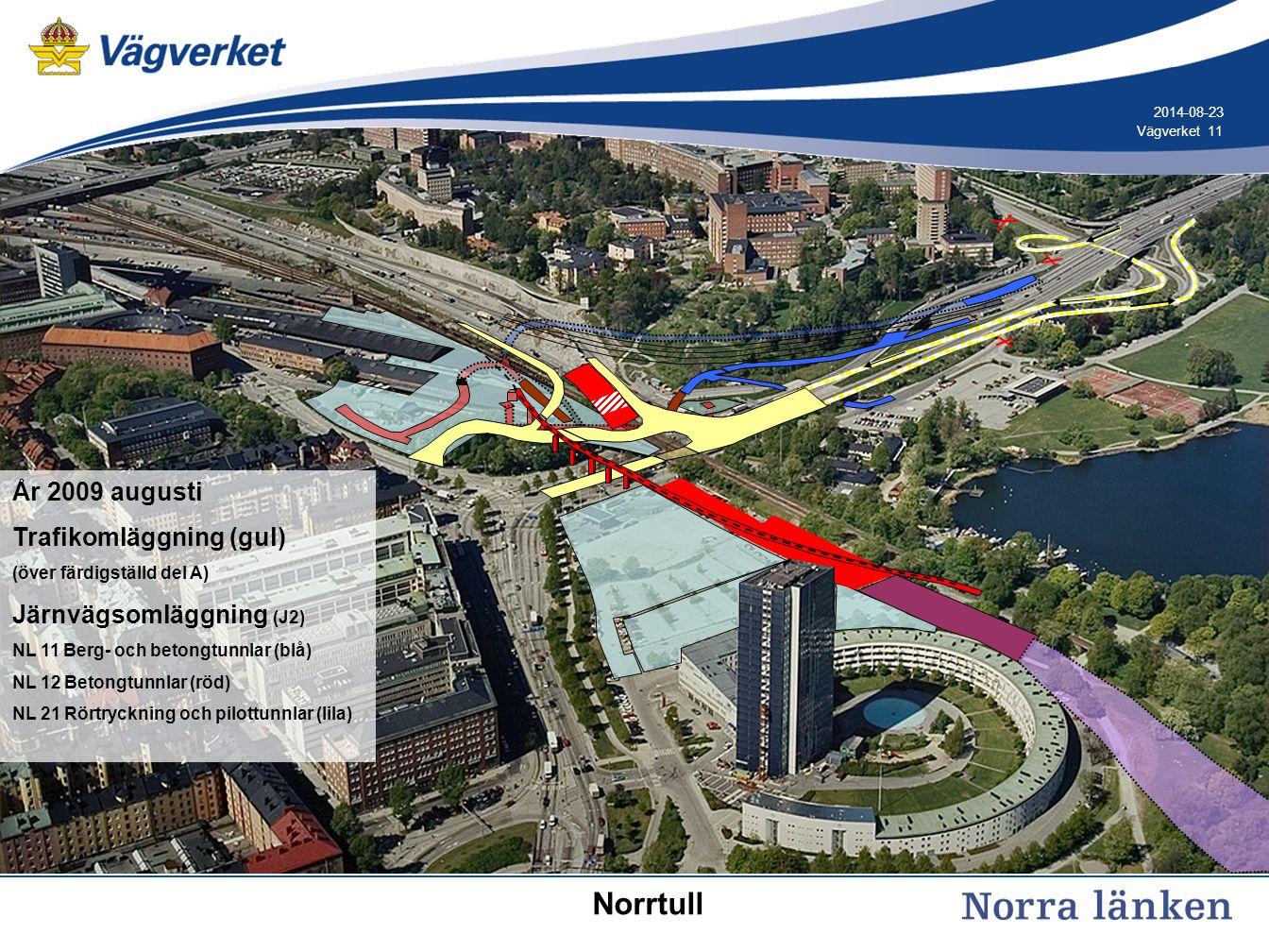 Norrtull År 2009 augusti Trafikomläggning (gul)
