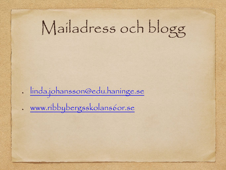Mailadress och blogg linda.johansson@edu.haninge.se