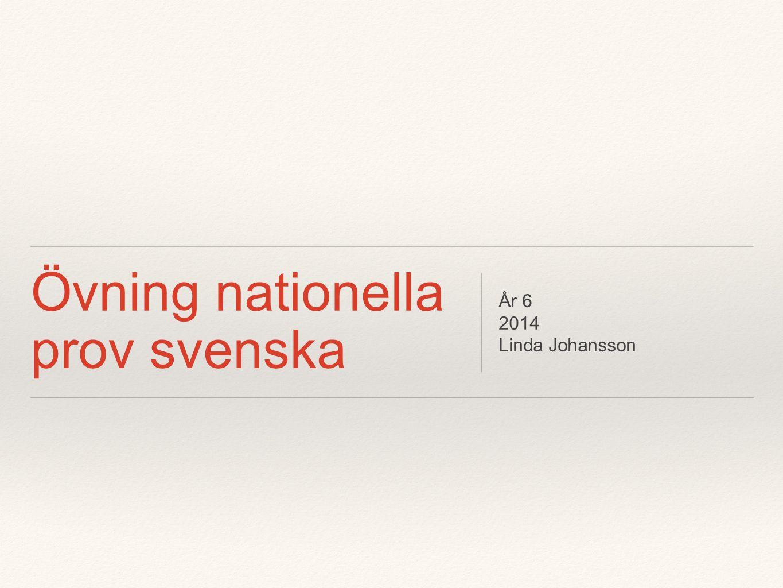 Övning nationella prov svenska