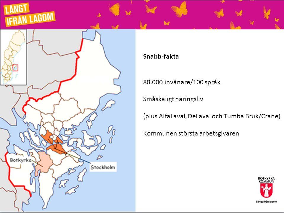 Snabb-fakta 88.000 invånare/100 språk. Småskaligt näringsliv. (plus AlfaLaval, DeLaval och Tumba Bruk/Crane)