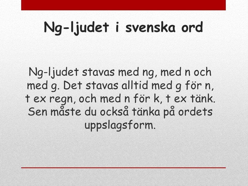 Ng-ljudet i svenska ord