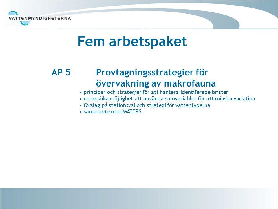 Fem arbetspaket AP 5 Provtagningsstrategier för övervakning av makrofauna.