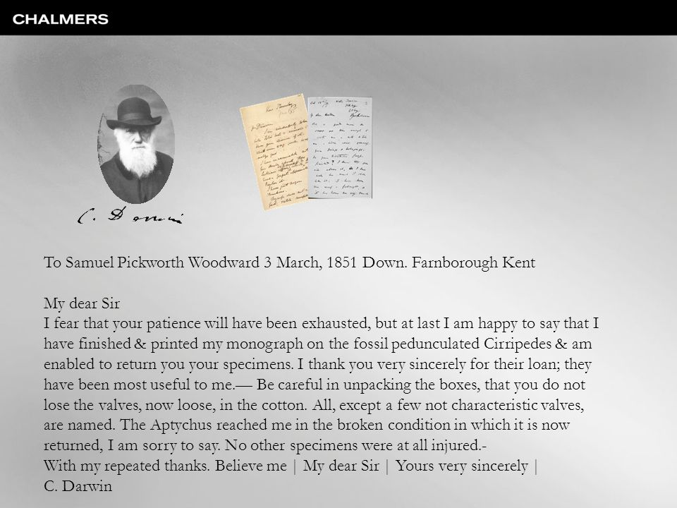 To Samuel Pickworth Woodward 3 March, 1851 Down. Farnborough Kent