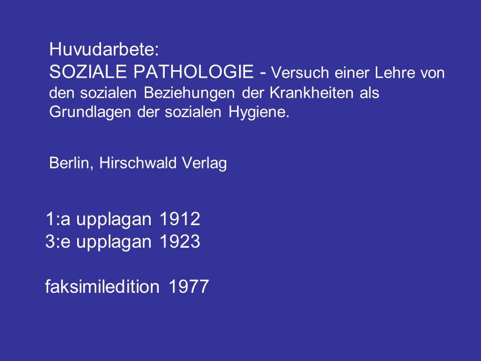 Huvudarbete: SOZIALE PATHOLOGIE - Versuch einer Lehre von den sozialen Beziehungen der Krankheiten als Grundlagen der sozialen Hygiene. Berlin, Hirschwald Verlag