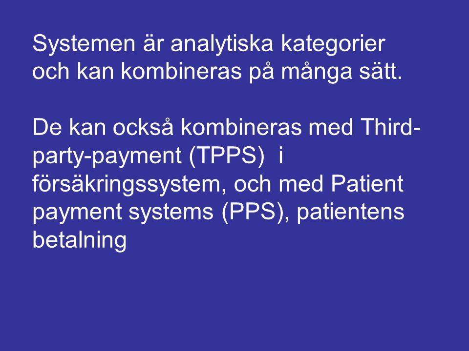Systemen är analytiska kategorier och kan kombineras på många sätt