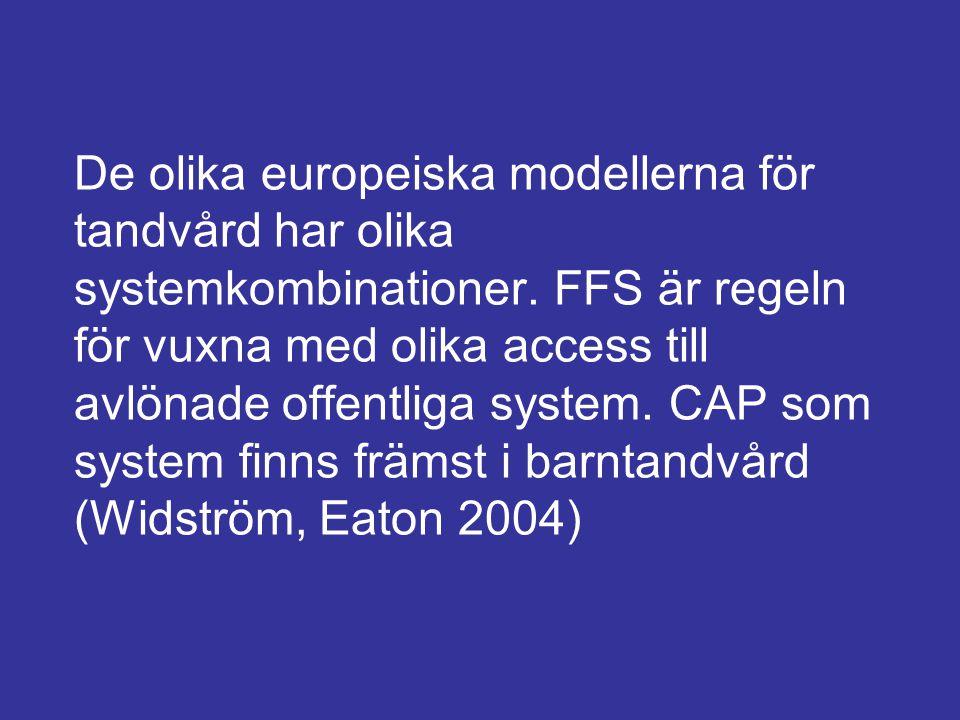 De olika europeiska modellerna för tandvård har olika systemkombinationer.