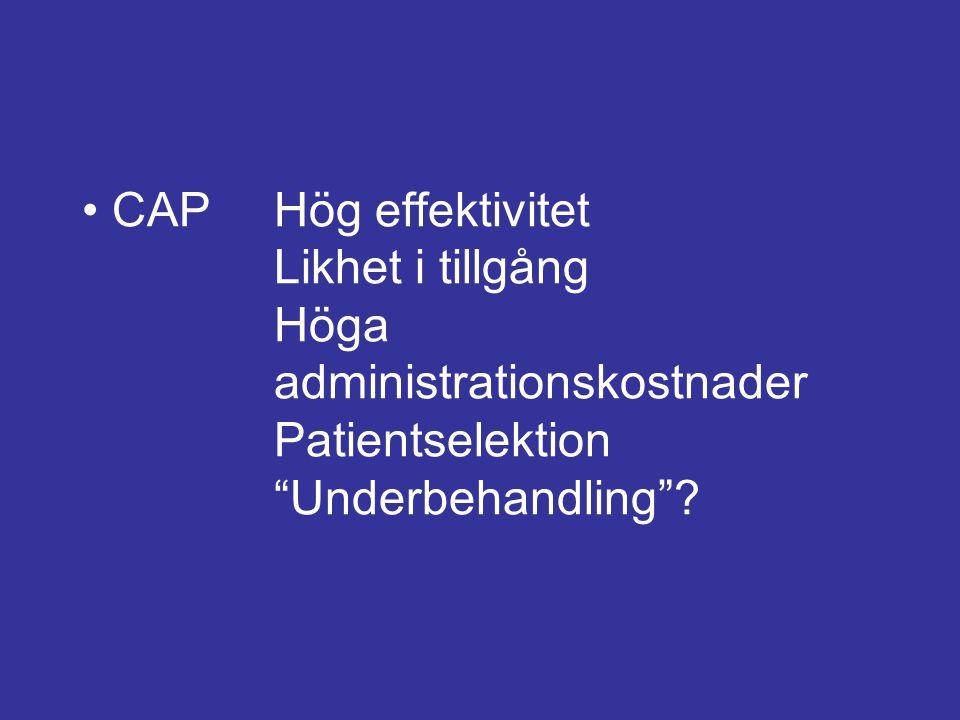 • CAP. Hög effektivitet. Likhet i tillgång. Höga