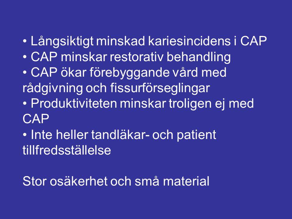 • Långsiktigt minskad kariesincidens i CAP • CAP minskar restorativ behandling • CAP ökar förebyggande vård med rådgivning och fissurförseglingar • Produktiviteten minskar troligen ej med CAP • Inte heller tandläkar- och patient tillfredsställelse Stor osäkerhet och små material