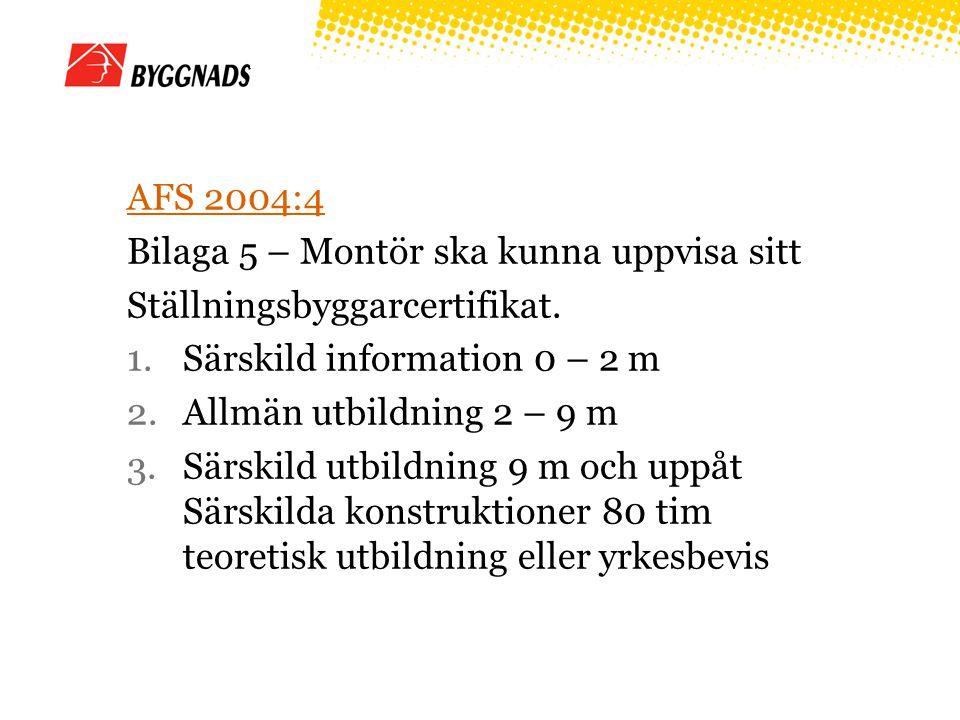 AFS 2004:4 Bilaga 5 – Montör ska kunna uppvisa sitt. Ställningsbyggarcertifikat. Särskild information 0 – 2 m.