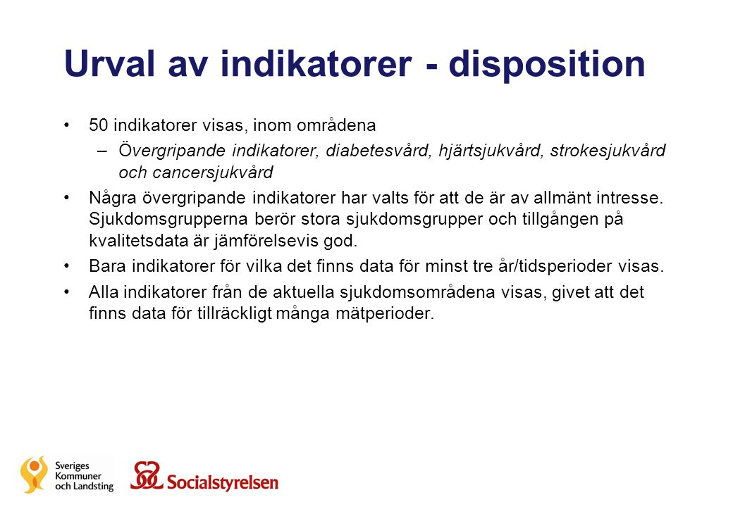 Urval av indikatorer - disposition