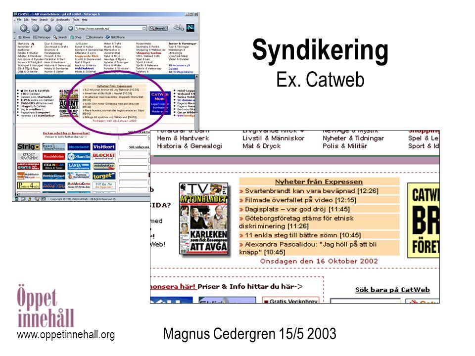 Syndikering Ex. Catweb