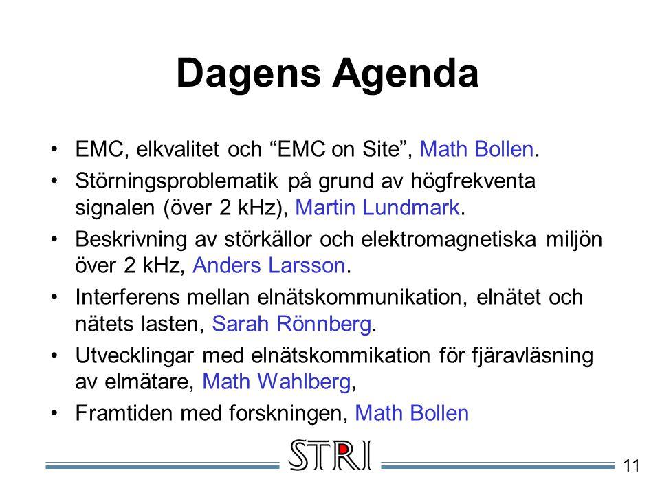 Dagens Agenda EMC, elkvalitet och EMC on Site , Math Bollen.