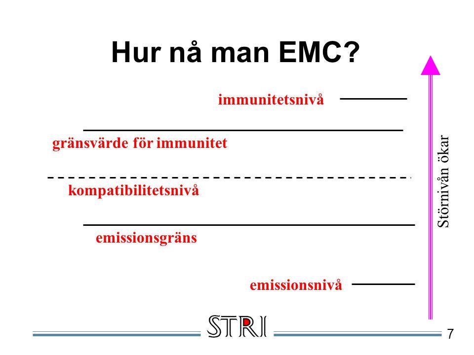 Hur nå man EMC immunitetsnivå gränsvärde för immunitet Störnivån ökar