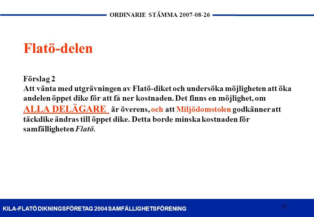 Flatö-delen Förslag 2. Att vänta med utgrävningen av Flatö-diket och undersöka möjligheten att öka.