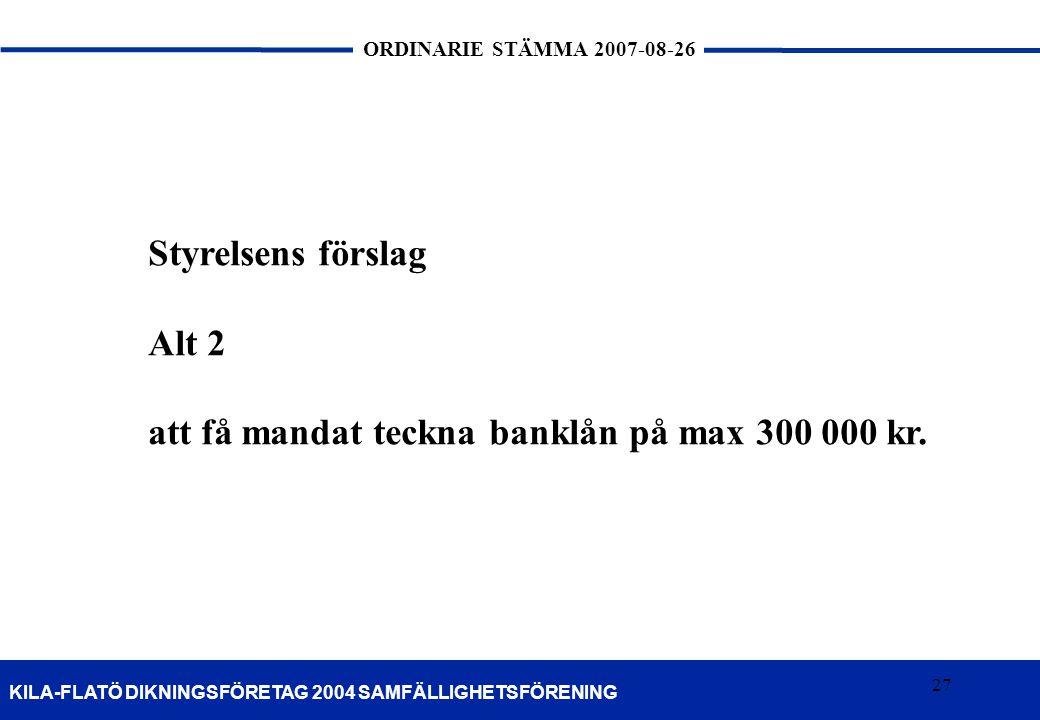 Styrelsens förslag Alt 2 att få mandat teckna banklån på max 300 000 kr.