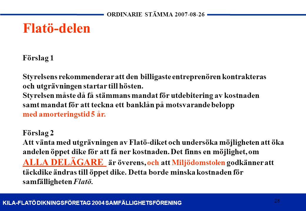 Flatö-delen Förslag 1. Styrelsens rekommenderar att den billigaste entreprenören kontrakteras. och utgrävningen startar till hösten.